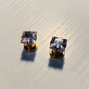 Morbid Metals Plugs | SS Gold W/prong diamond | 0g